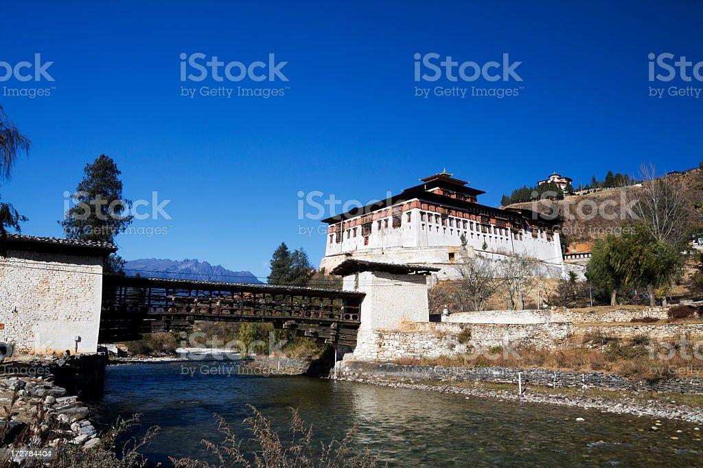 Paro Dzong and Bridge stock photo