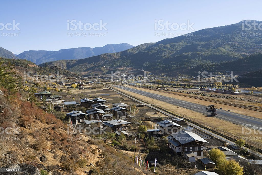 Paro Valley and Airport, Bhutan stock photo