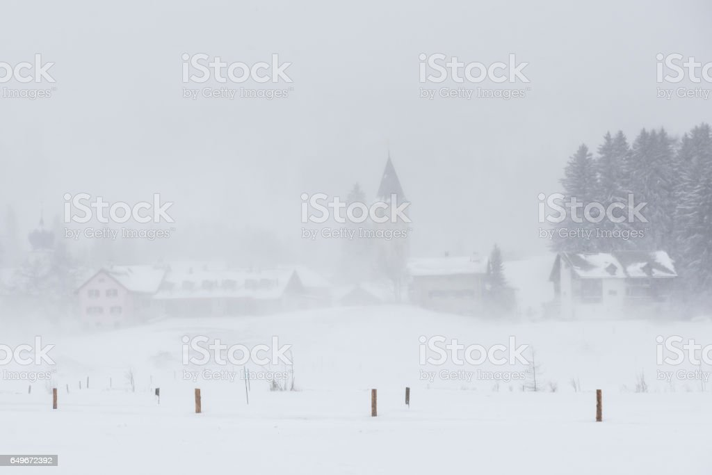 Parpan with Church  in Snow stock photo