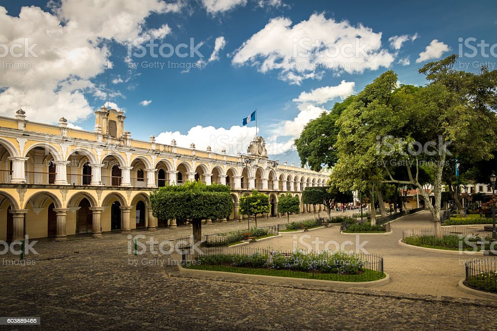 Parque Central and Colonial Buildings - Antigua, Guatemala stock photo
