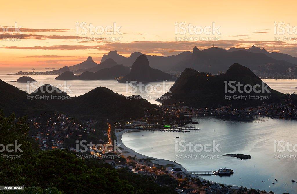 Parque da Cidade at Dusk in Niteroi Rio de Janeiro stock photo