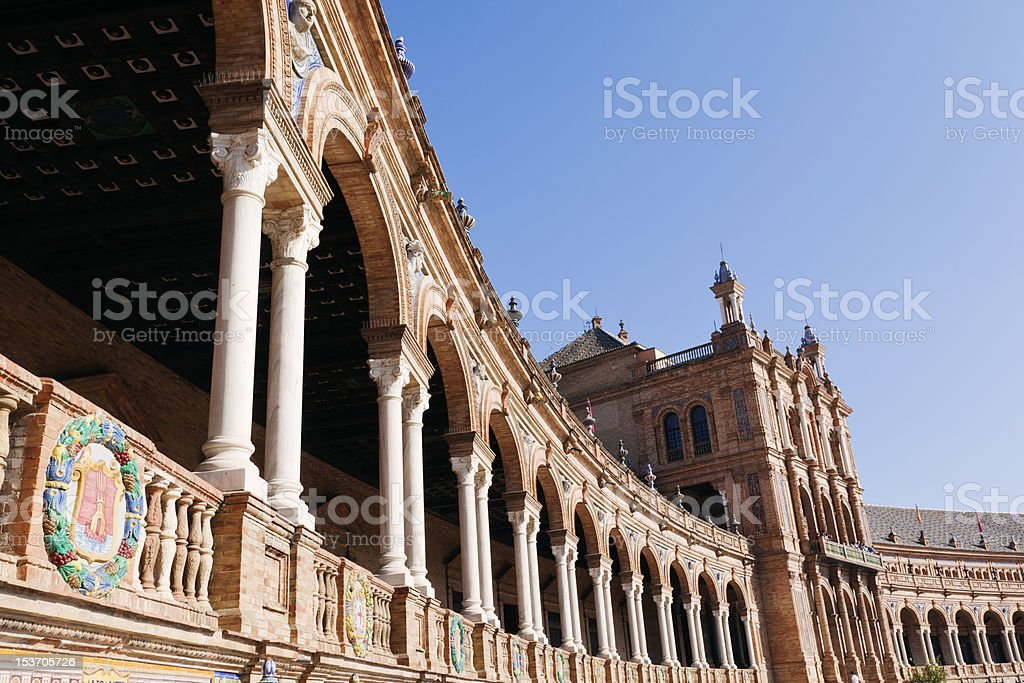 Parque Maria Luisa in Sevilla agaist Blue Sky royalty-free stock photo