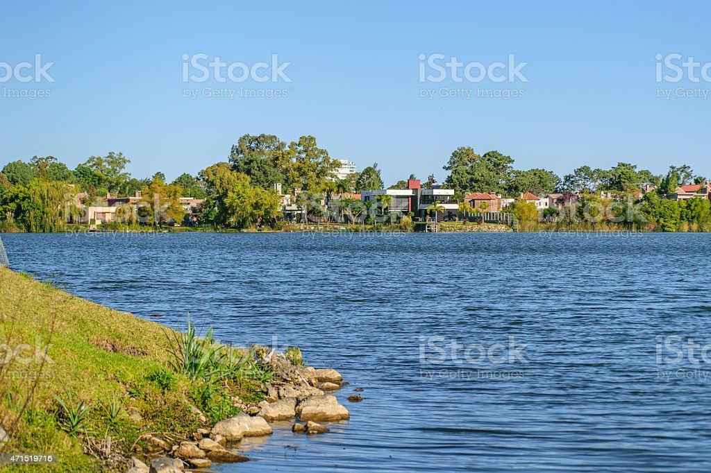 Parque Miramar Lake in Canelones Uruguay stock photo