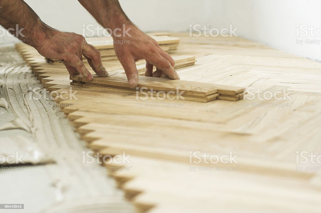 parquet and carpenter working stock photo