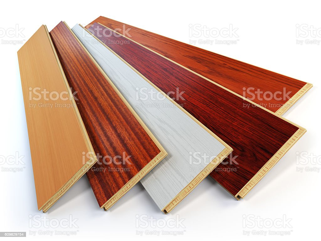 Parquet o laminate wooden planks of the different colors stock photo