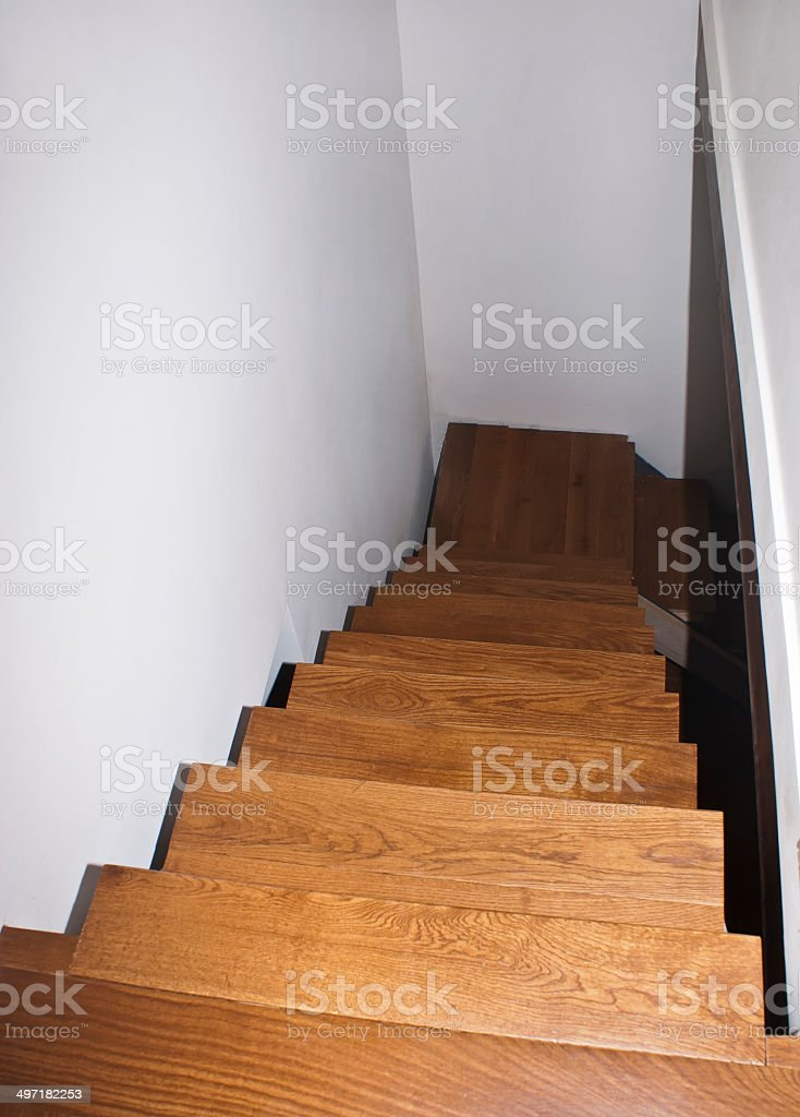 Parquet stairs stock photo