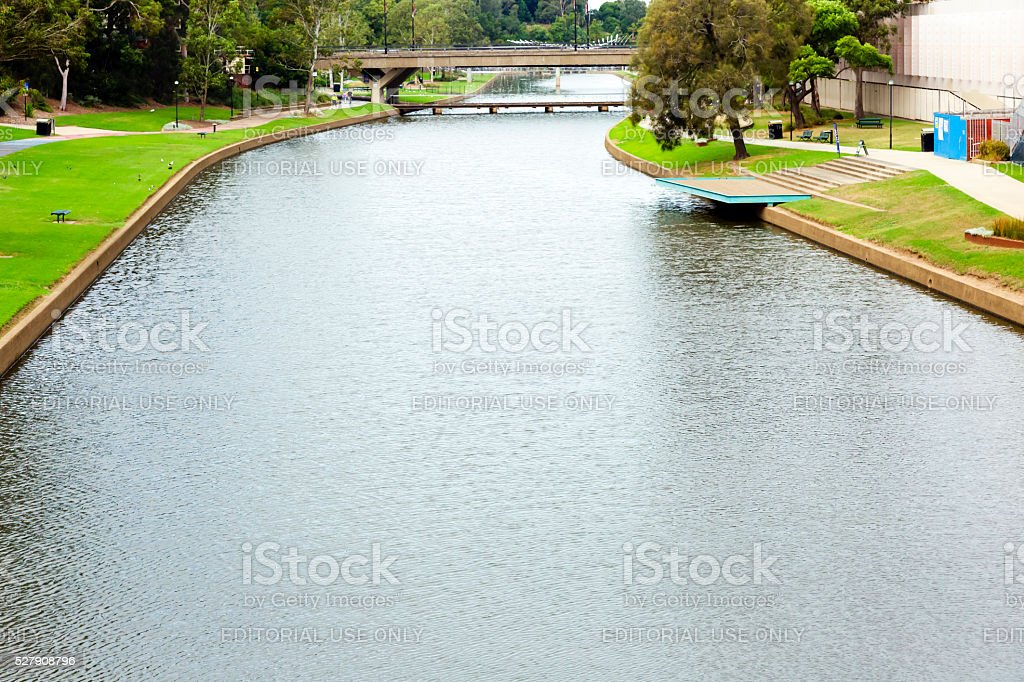 Parramatta river in Parramatta NSW Australia, elevated view, copy space stock photo
