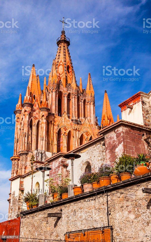 Parroquia Archangel Church Wall San Miguel de Allende Mexico stock photo
