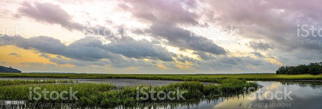 Parrot Creek Panoramic, Charleston, South Carolina stock photo