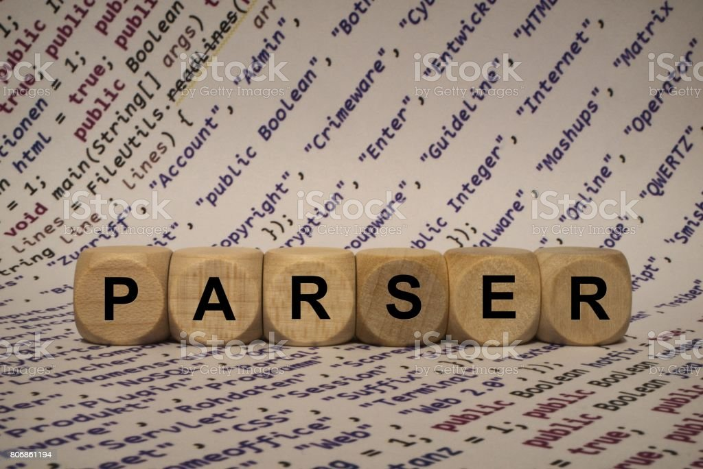 parser - cube with letters and words from the computer, software, internet categories, wooden cubes stock photo