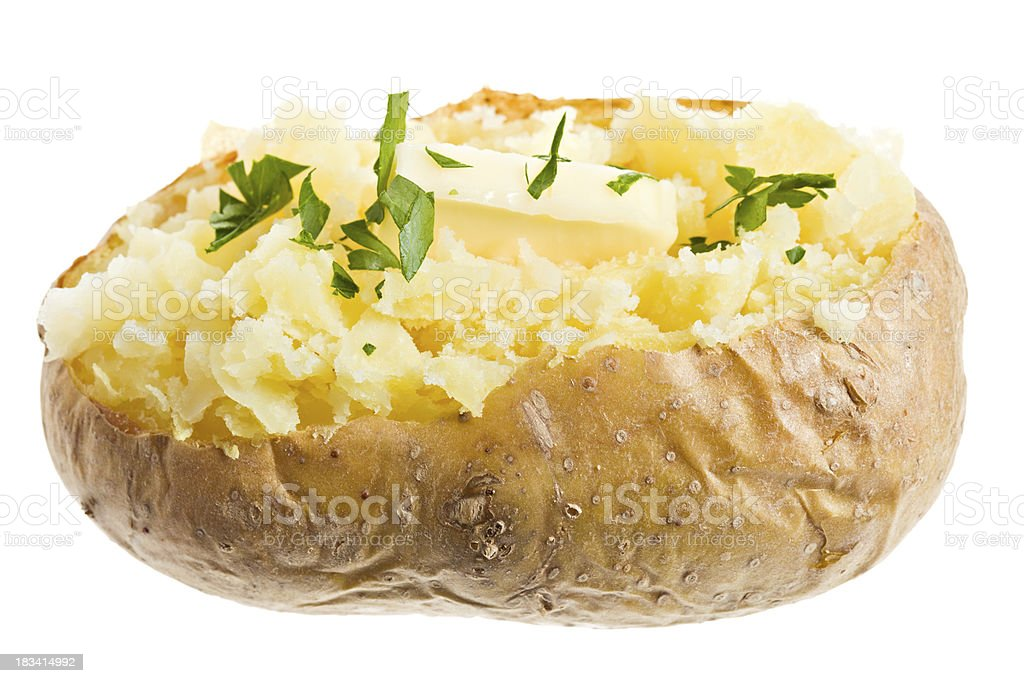 Parsley and Butter On a Freshly Baked Potato royalty-free stock photo