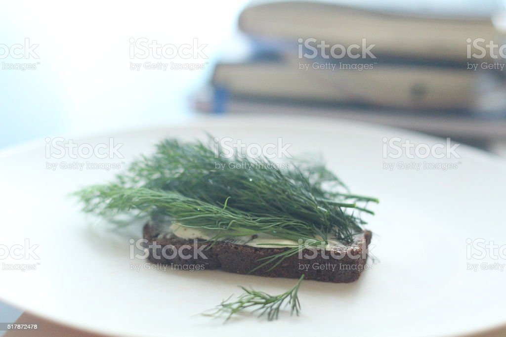 parsley and onion with sour cream stock photo