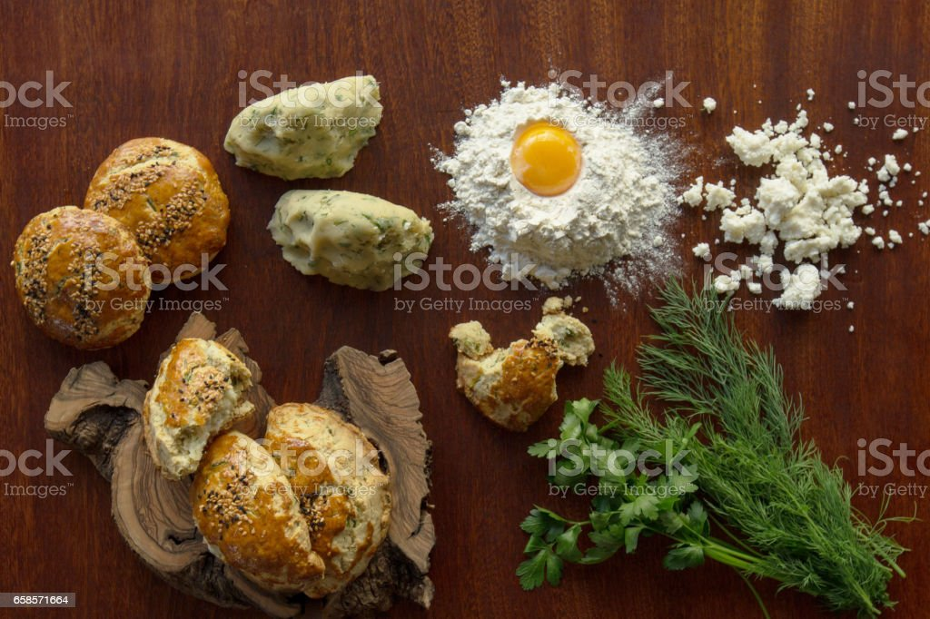 Parsley, dill, curd cheese, pastry stock photo