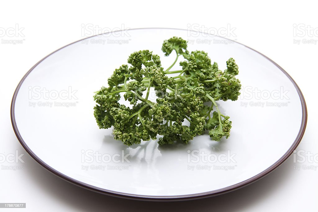 Parsley on plate stock photo