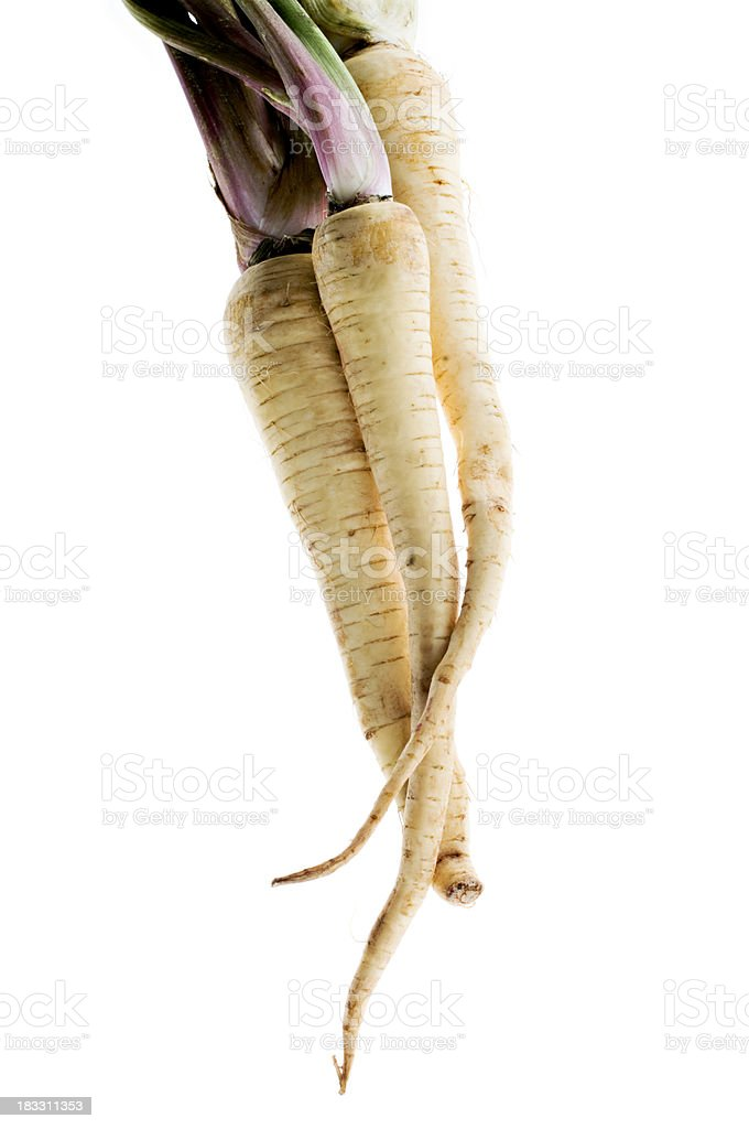 Parsnips Against White Background stock photo