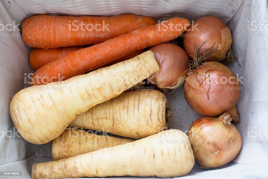 Parsnips, Carrots and Onions stock photo