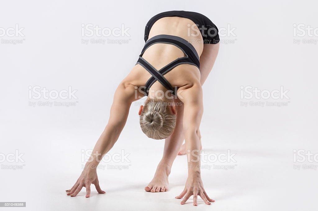 Parsvottanasana yoga pose stock photo