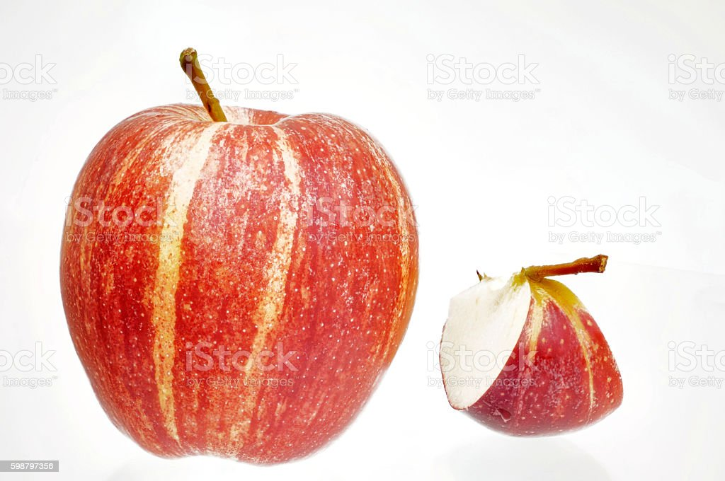 part and whole red yellow apple Cut stock photo