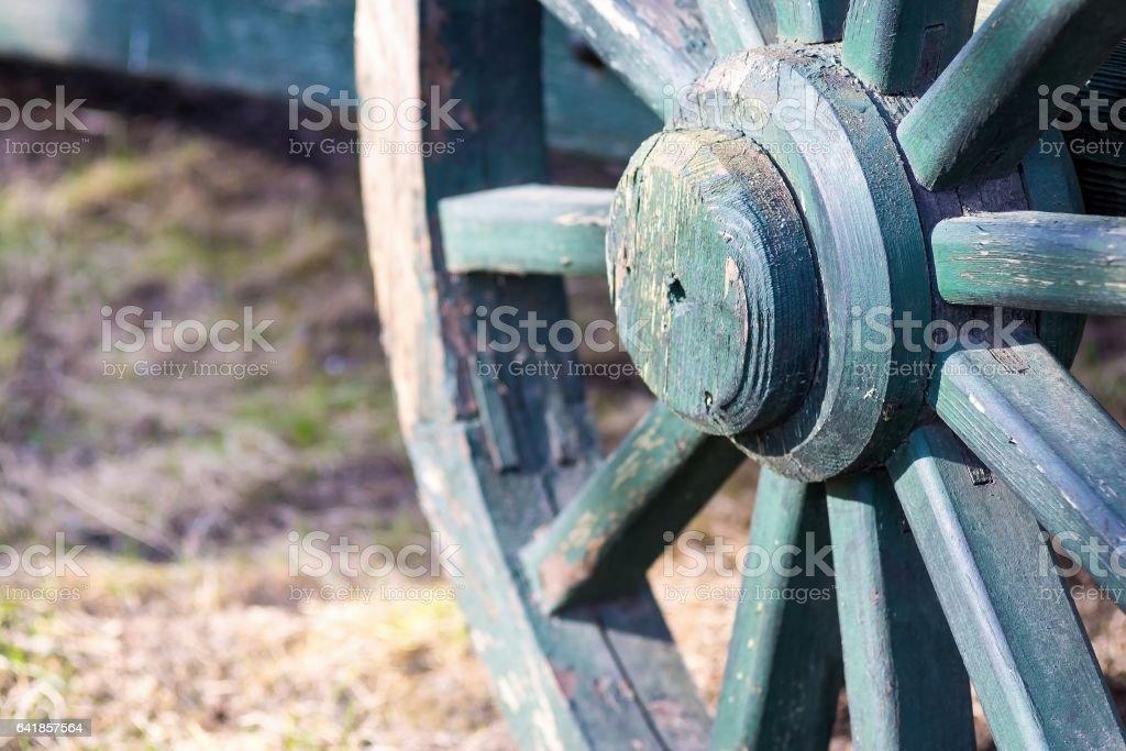 part big wooden wheel for a gharry retro closeup stock photo