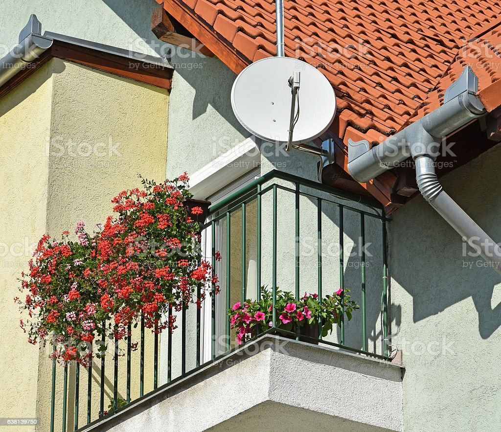 Part of a house with antenna stock photo