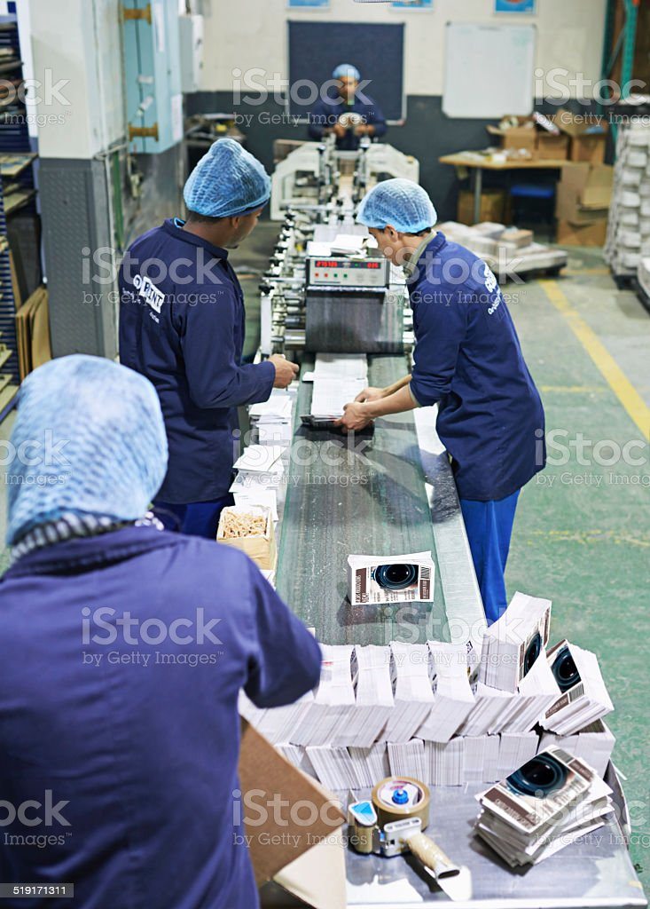 Part of a long assembly line stock photo