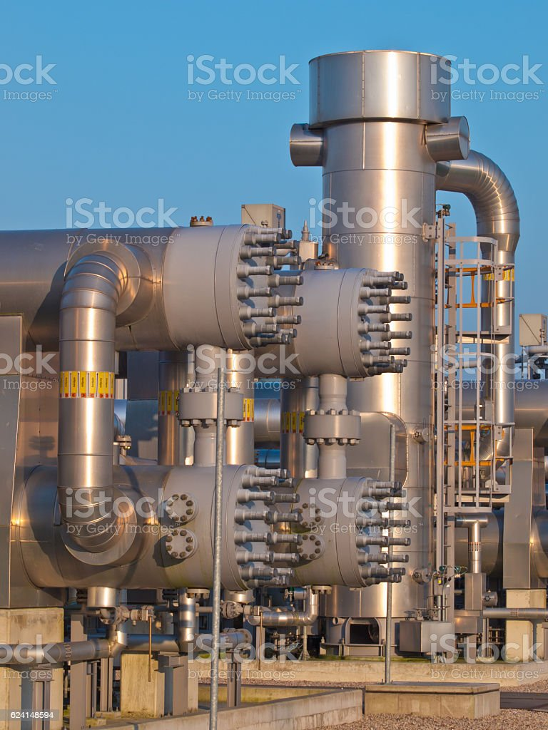 Part of a modern natural gas processing plant stock photo