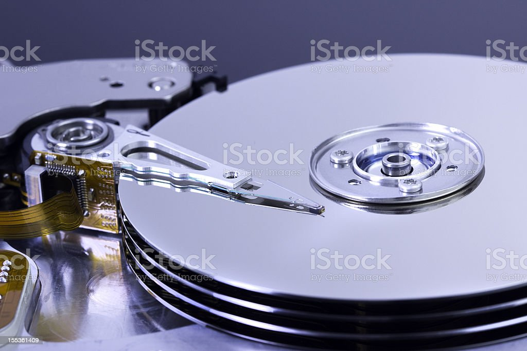 part of a open harddisk stock photo