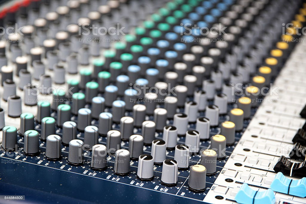 Part of a proffesionellen sound mixing console, music device stock photo