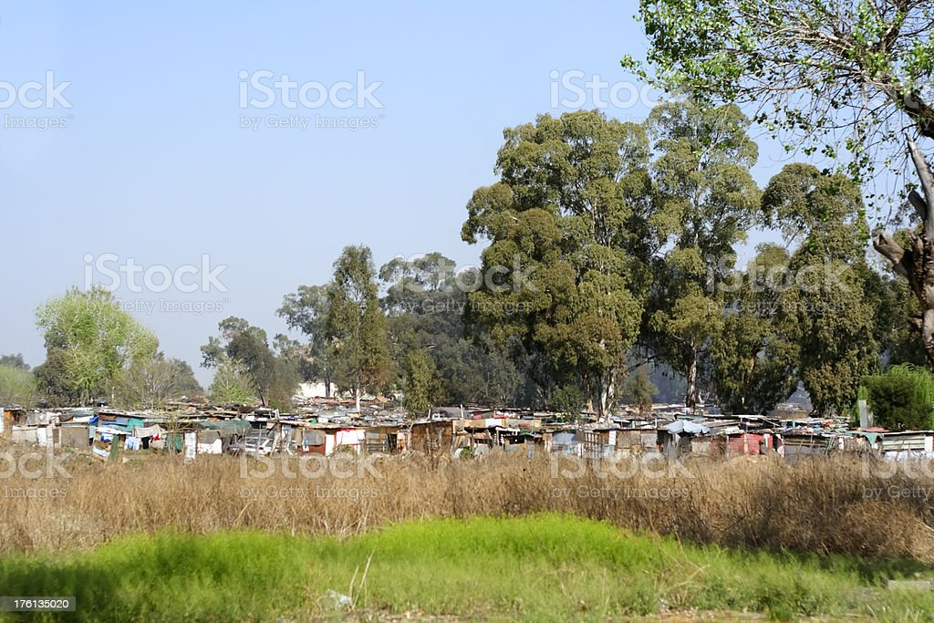Part of a squatter camp near Soweto, South Africa stock photo