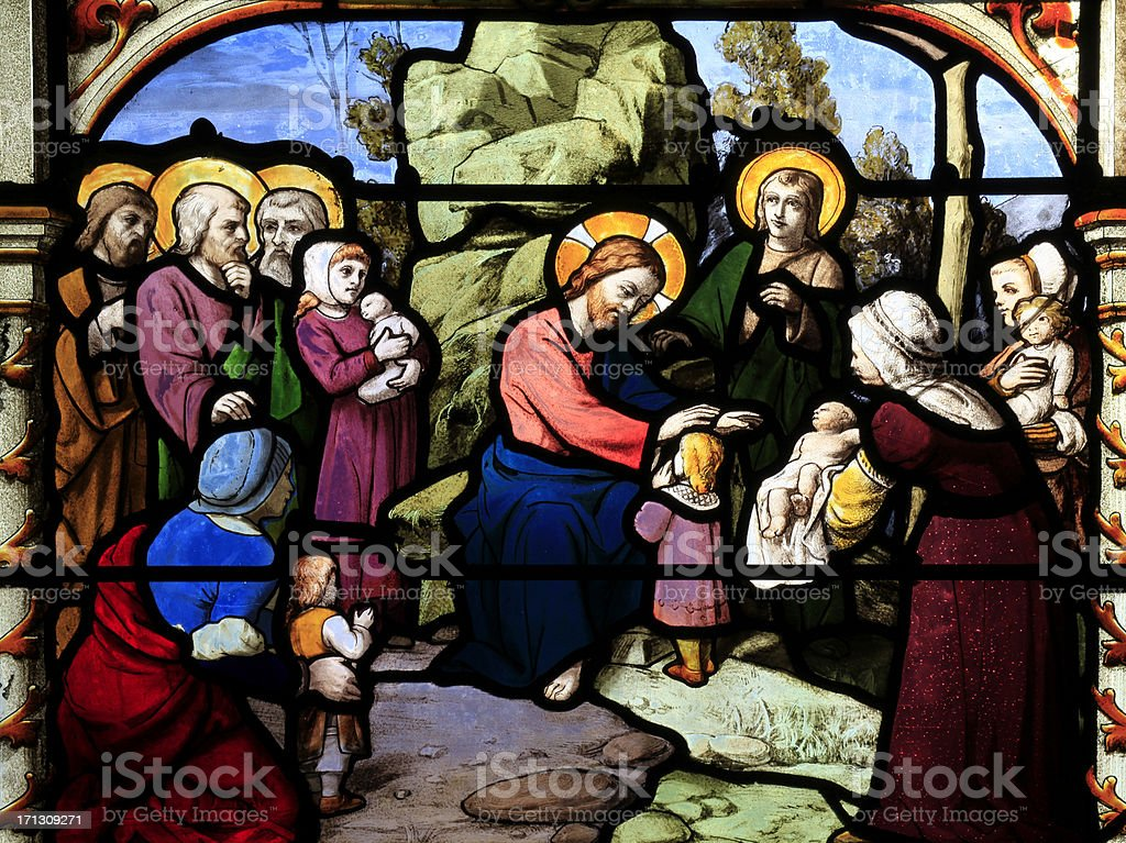 Part of a Stained Glass Window, Basilique Saint, Aignan, Chartres stock photo