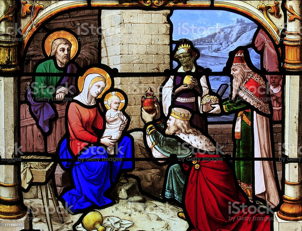 Part of a Stained Glass window, Basilique Saint-Agnan, Chartres stock photo