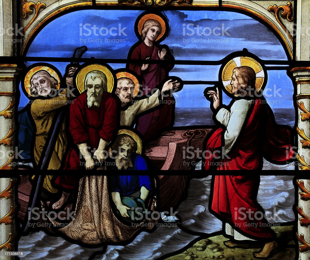 Part of a Stained Glass Window, Basilique Saint-Aignan, Chartres stock photo