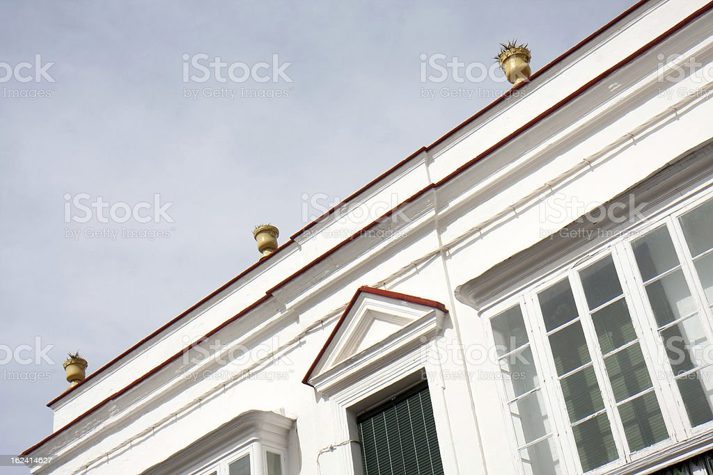 Part of a white facade. royalty-free stock photo
