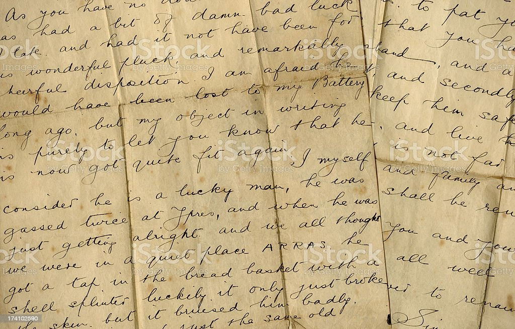 Part of a World War One letter (Ypres and Arras) stock photo