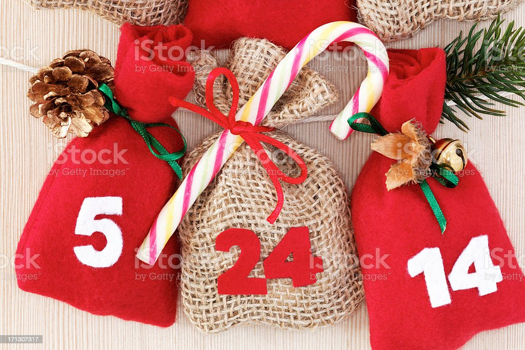 part of advent calendar with little bags royalty-free stock photo