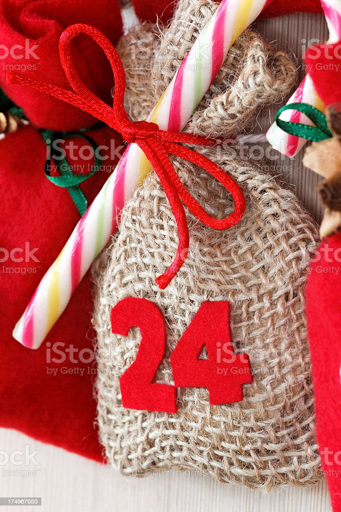 part of advent calendar with little bags stock photo