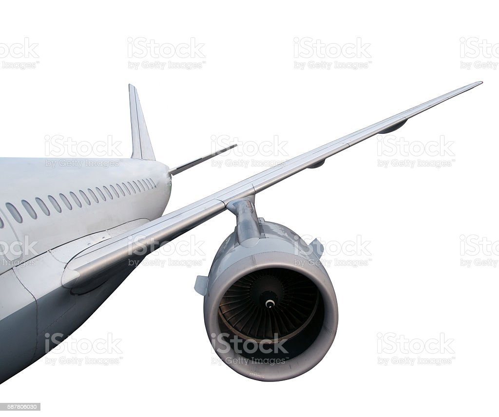 part of airplane isolated on white background. stock photo