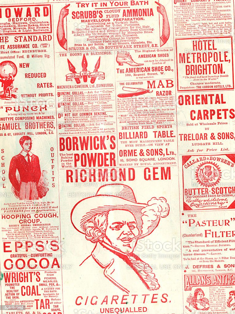 Part of an advertisement page from Punch, 1897 stock photo