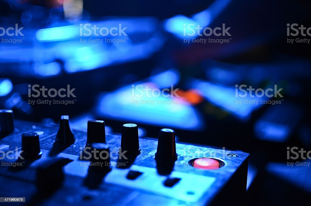 Part of an audio sound mixer with buttons and sliders royalty-free stock photo