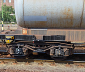 Part of an oil tanker railway carriage