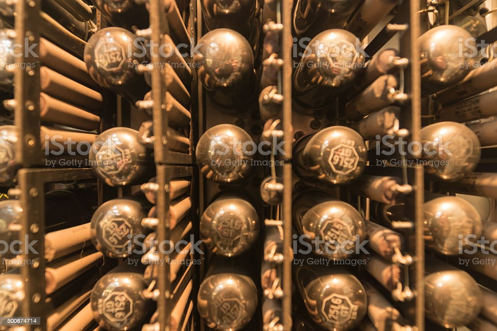 Part of an old computer with electronic vacuum tubes stock photo