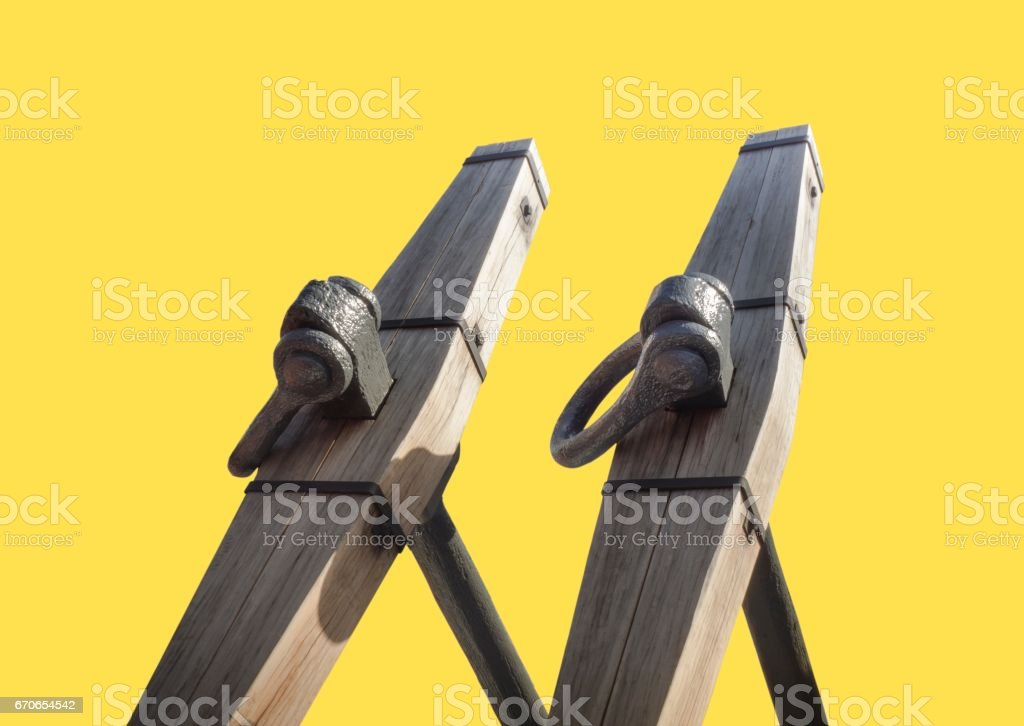 Part Of  Anchor Isolated On Yellow Background stock photo