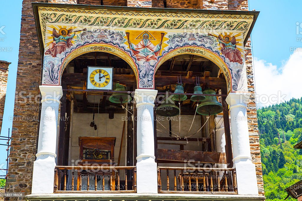 Part of bell tower in famous Rila Monastery, Bulgaria stock photo
