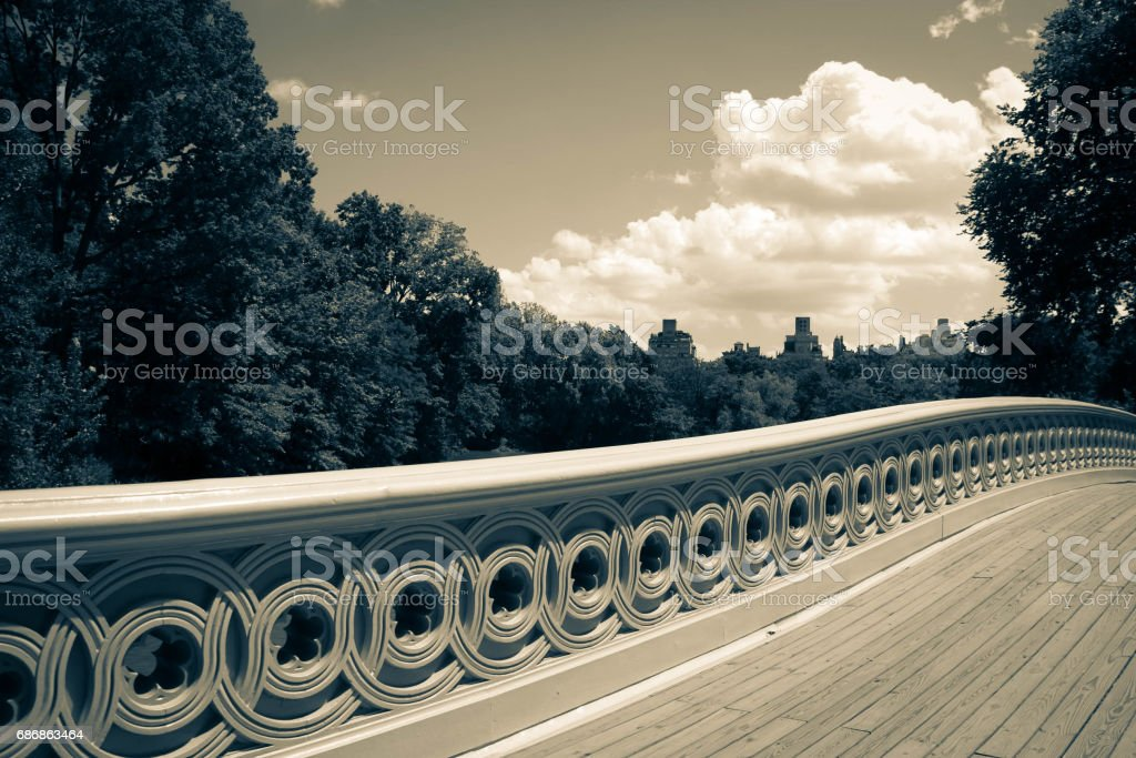 A part of Bow bridge and trees in vintage style, Central Park, New York stock photo