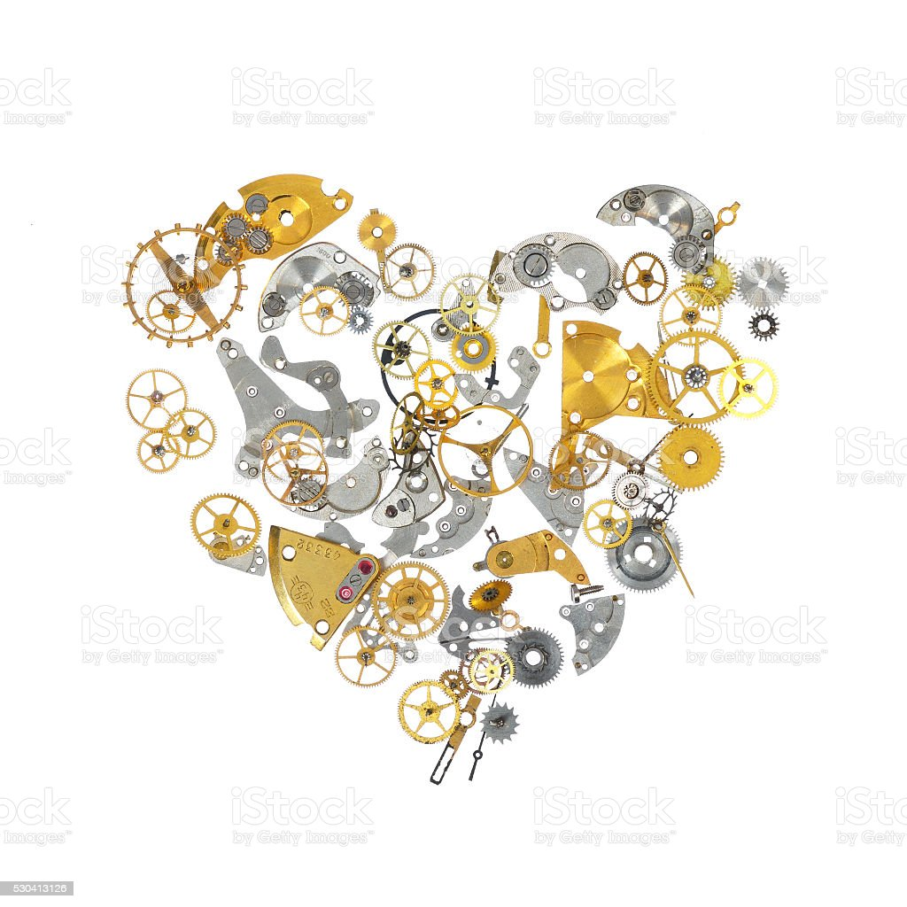 Part of broken watch shaped as heart stock photo