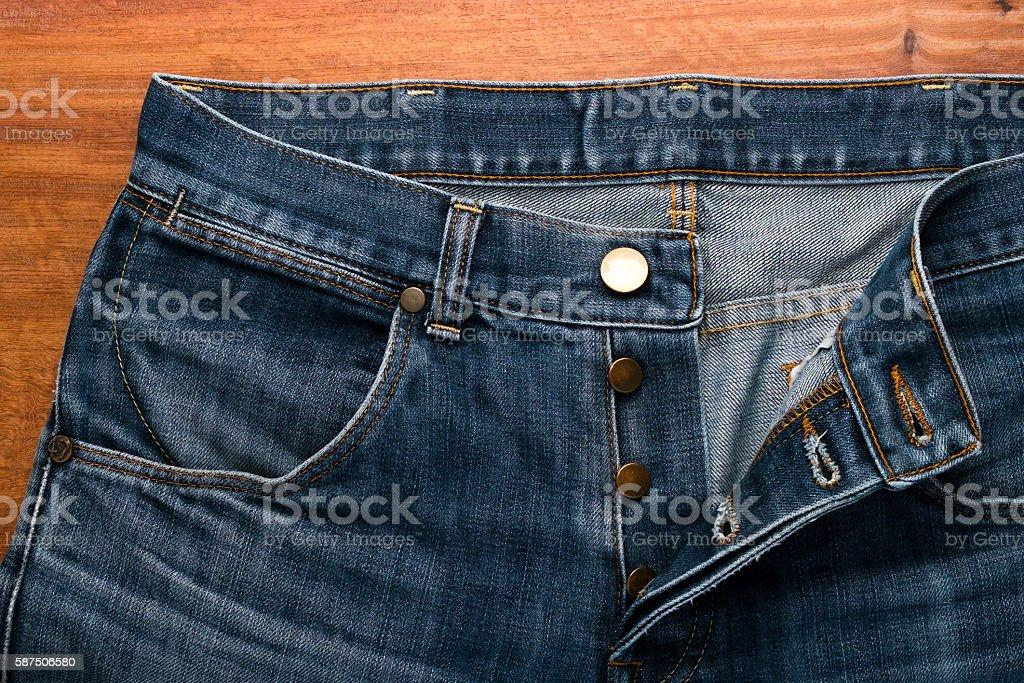 Part of denim close-up stock photo