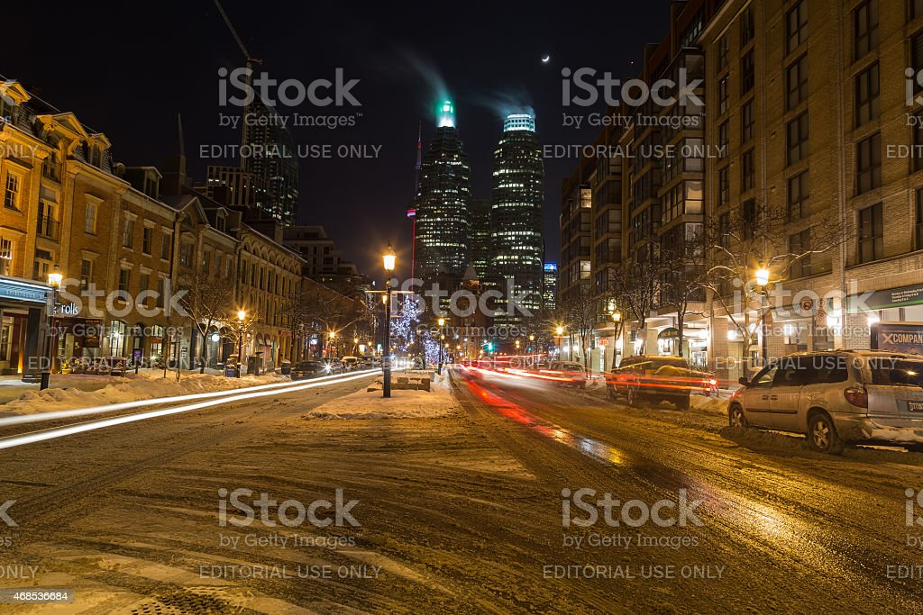 Part of downtown Toronto at night in the winter stock photo
