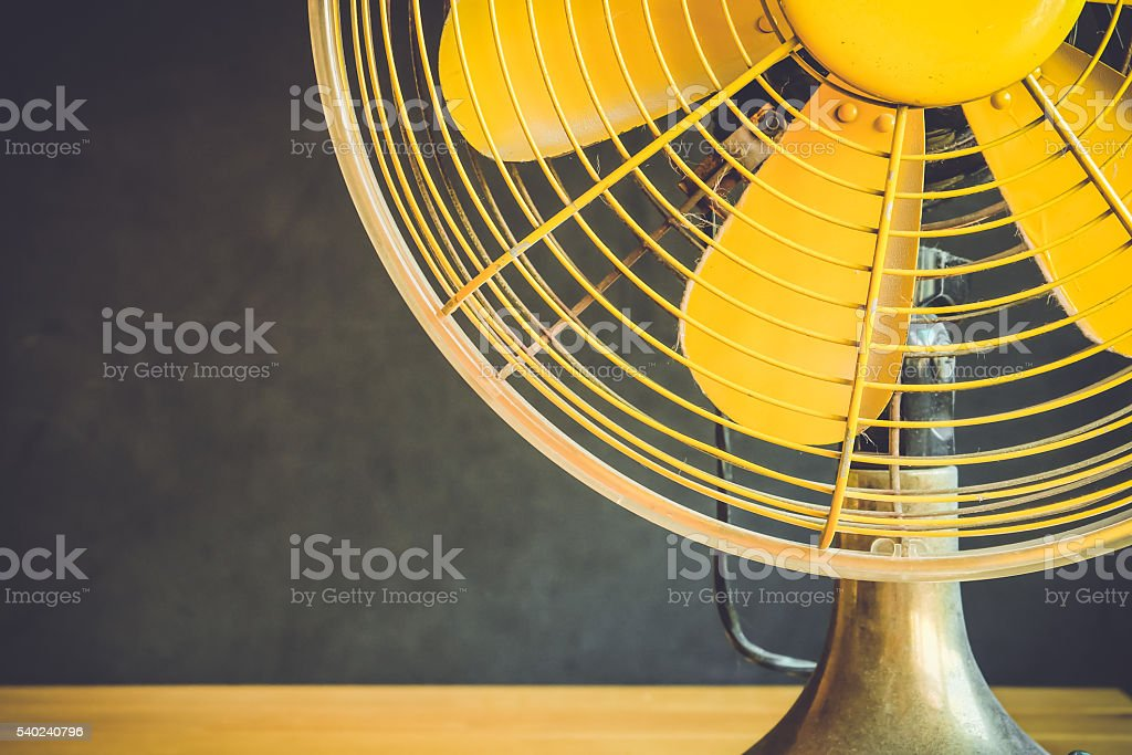 Part of electric fan on a table stock photo