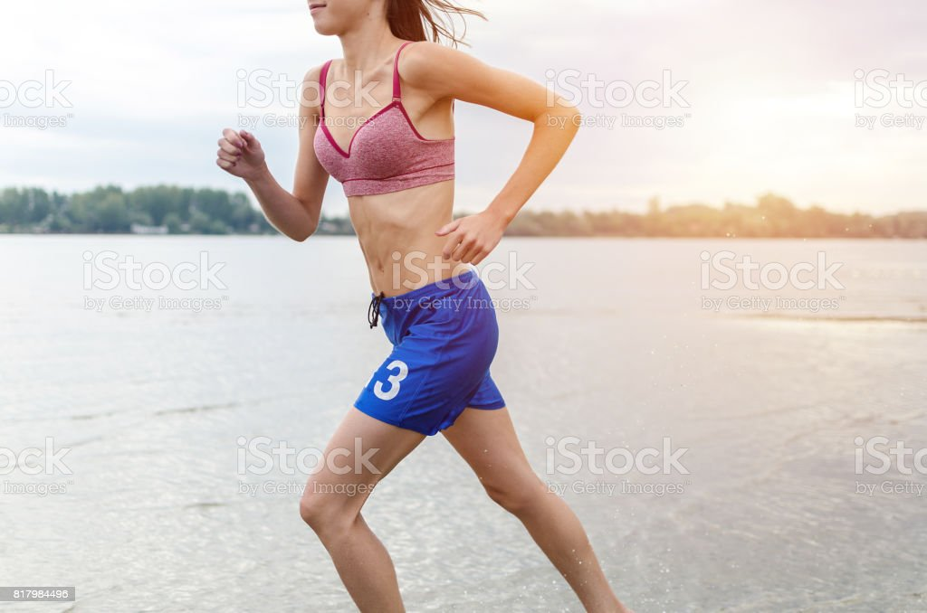 part of female muscular body stock photo