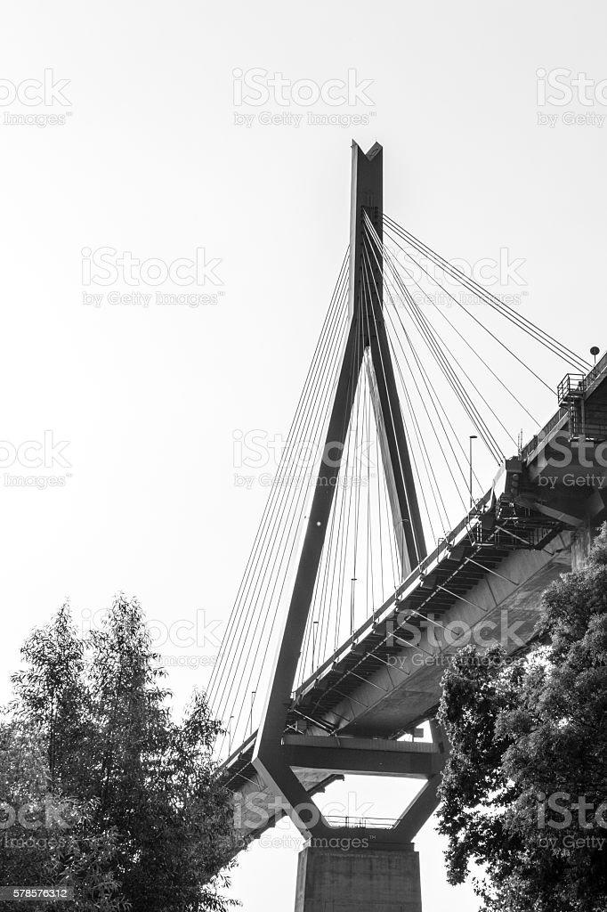 Part of german köhlbrand bridge stock photo
